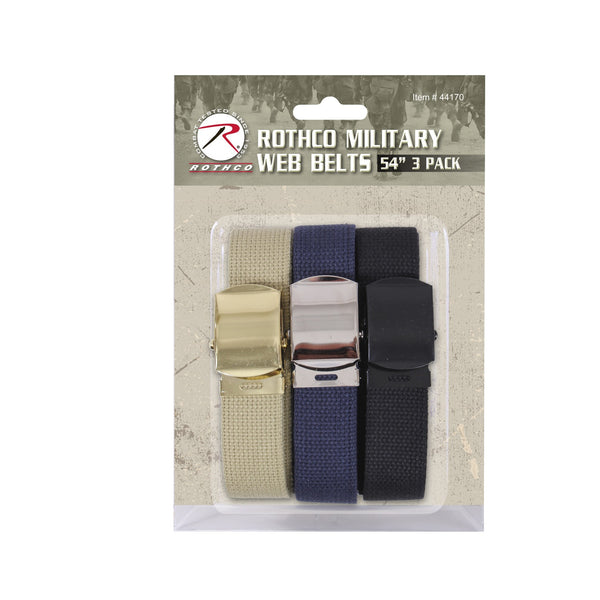 44170 Military Color Web Belts 3 Pack-54""