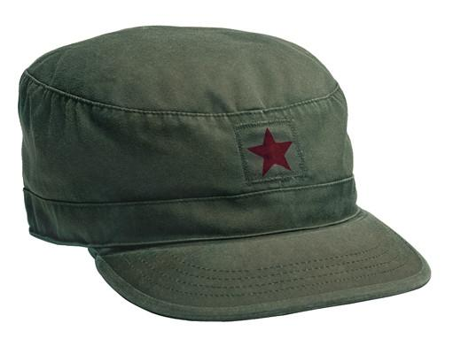 4518 Rothco Vintage Fatigue Cap - Olive Drab W/ Red Star