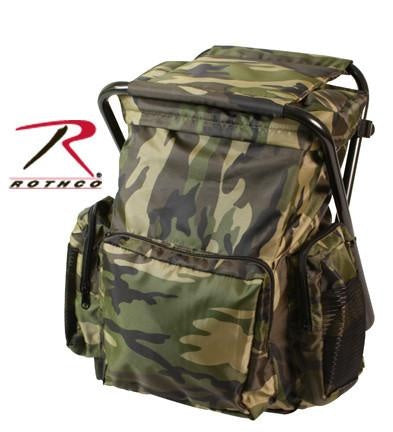 4548 ROTHCO BACKPACK & STOOL COMBO PACK - WOODLAND CAMO