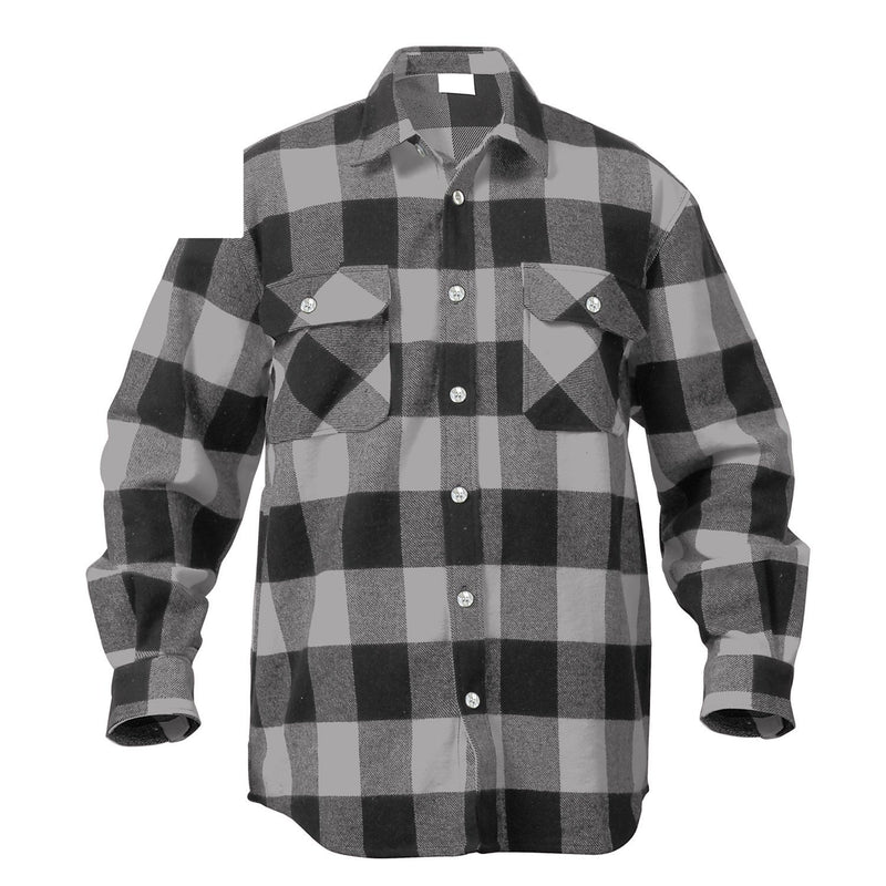 4690 Rothco Extra Heavyweight Buffalo Plaid Flannel Shirts - Grey Plaid