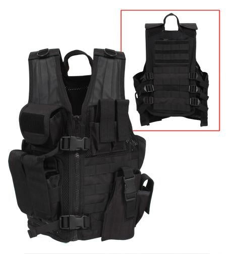 5593 Rothco Kid''s Tactical Cross Draw Vest - Black
