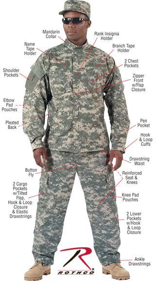 5765 Rothco Camo Army Combat Uniform Shirt - ACU Digital Camo
