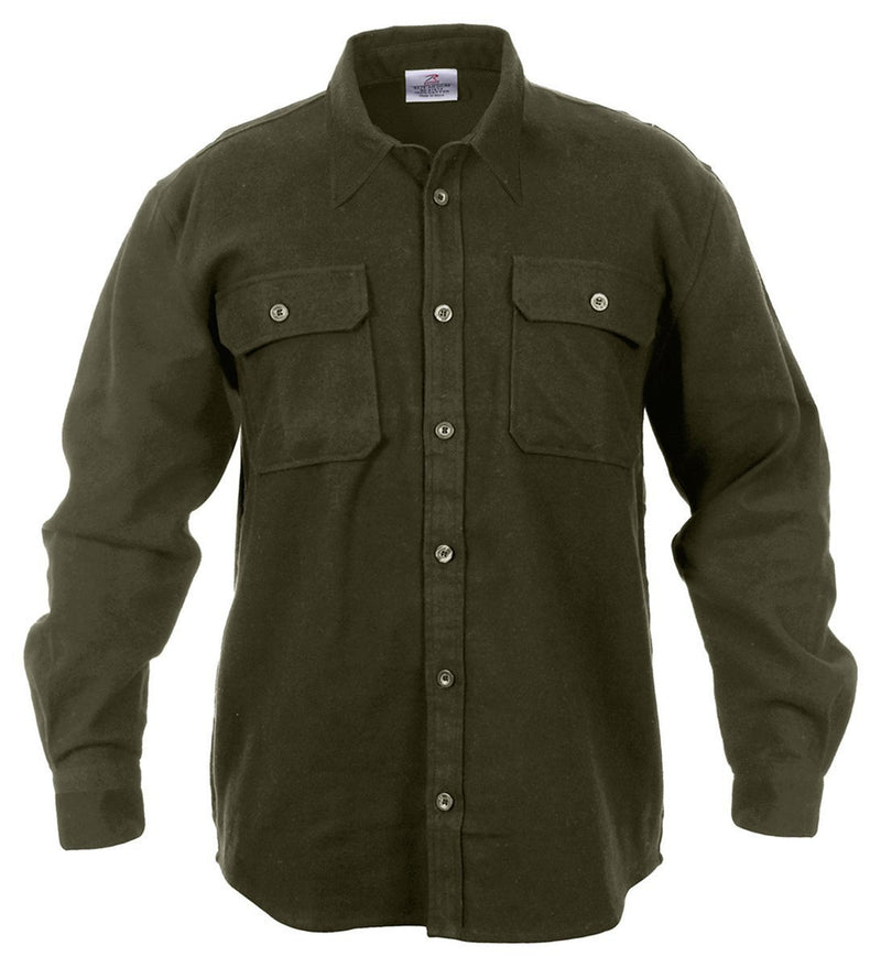 4669 Rothco Heavy Weight Solid Flannel Shirt - Olive Drab