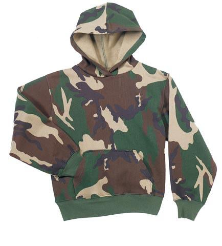 6490 Rothco Kids Pullover Hooded Sweatshirt - Woodland Camo