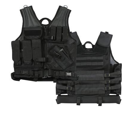 6491 Rothco Black Cross Draw Tactical Vest