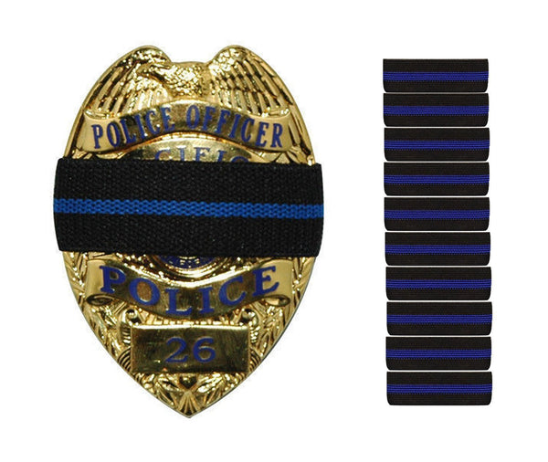 10-PACK Thin Blue Line Stripe Black Police Officer Badge Shield Funeral Honor Guard Mourning Band Strap 3/4""
