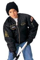 7341 Rothco Kids Flight Jacket With Patches - Black