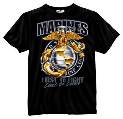 80280 Rothco Black Ink Marines First To Fight T-Shirt