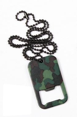 8794 Rothco Woodland Camo Dog Tag Bottle Opener