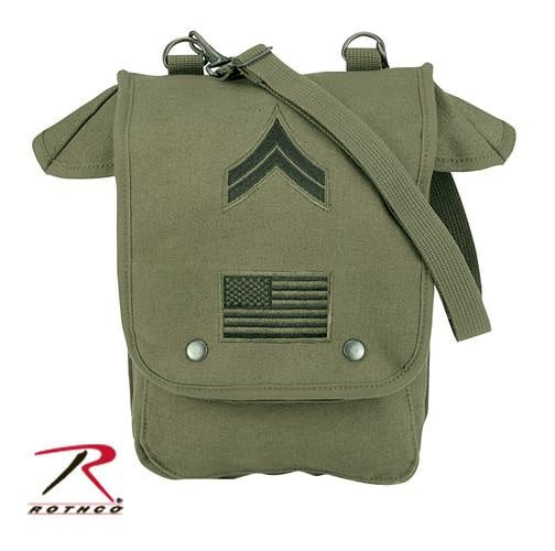 8796 ROTHCO CANVAS MAP CASE SHOULDER BAG - OLIVE DRAB WITH EMBROIDERED MILITARY PATCHES