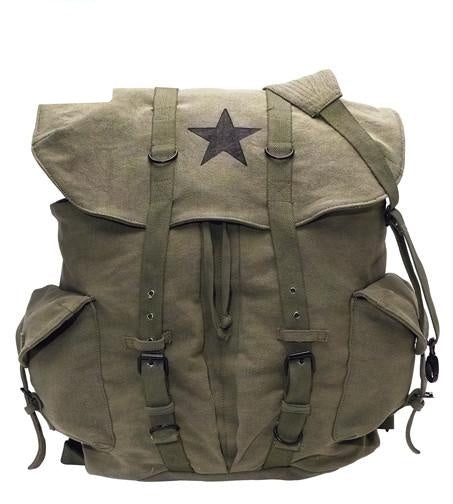 9158 ROTHCO VINTAGE CANVAS BACKPACK - OLIVE DRAB / BLACK STAR