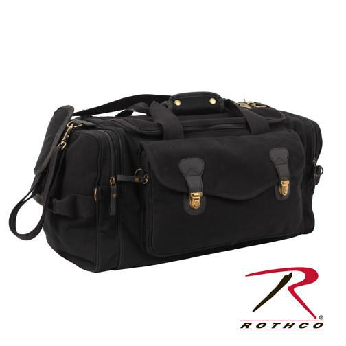9611 Rothco Canvas Long Weekend Bag - Black / Leather