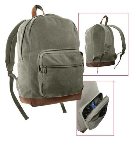 9666 ROTHCO CANVAS TEARDROP PACK - OLIVE DRAB WITH LEATHER ACCENTS