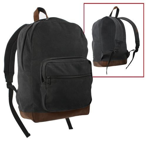 9667 ROTHCO CANVAS TEARDROP PACK - BLACK WITH LEATHER ACCENTS