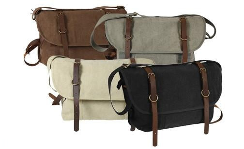 9684 ROTHCO VINTAGE CANVAS EXPLORER SHOULDER BAG WITH LEATHER ACCENTS