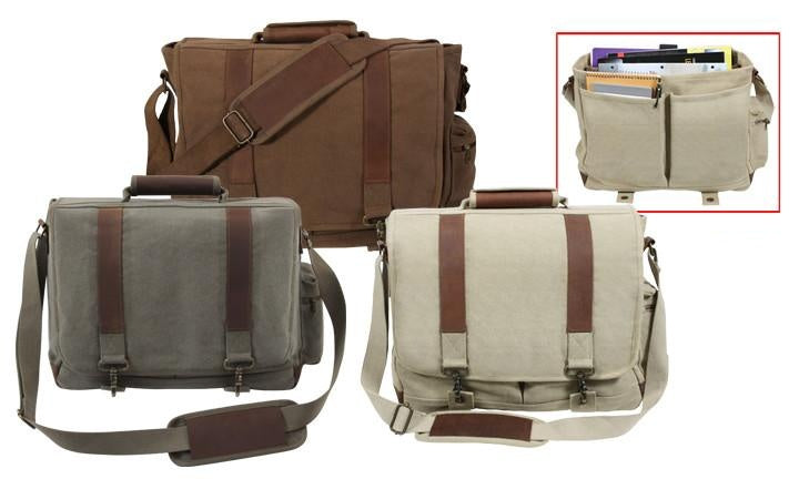 9691 ROTHCO VINTAGE CANVAS PATHFINDER LAPTOP BAG WITH LEATHER ACCENTS