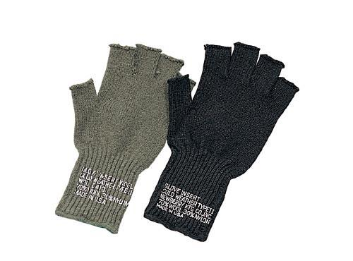 8411 Rothco G.I. Black Fingerless Wool Gloves