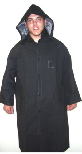 FULL RAIN JACKET with HOOD IN BLACK 49 INCH LONG