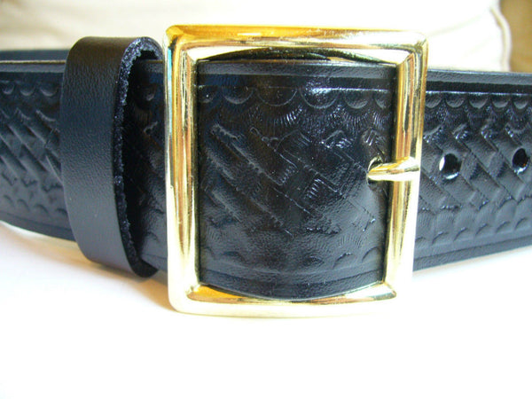 Police Garrison Belt -- Plain or Basket Weave - Gold Tone or Nickel Buckle