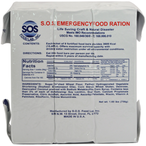 S.O.S. Rations Emergency 3600 Calorie Food SOS Bar 3 Day 72 Hour Package 4 Pack
