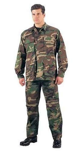 5957 Rothco Woodland Camouflage Rip-Stop B.D.U. Pants-Short Lengths