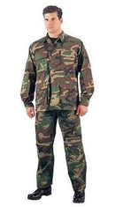5951 Rothco Woodland Camouflage Rip-Stop B.D.U. Shirt - Short Lengths