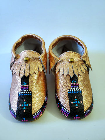 Baby Mocs - Rose Gold, Silver and Black.