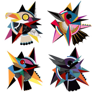 """Four Songs"" Sticker Pack of 4! 4"" Diameter laminated."