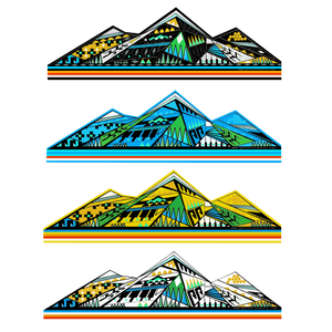 """4 Sacred Mountains "" 5""x2"" laminated.  Limited Holographic sticker Pack!!"