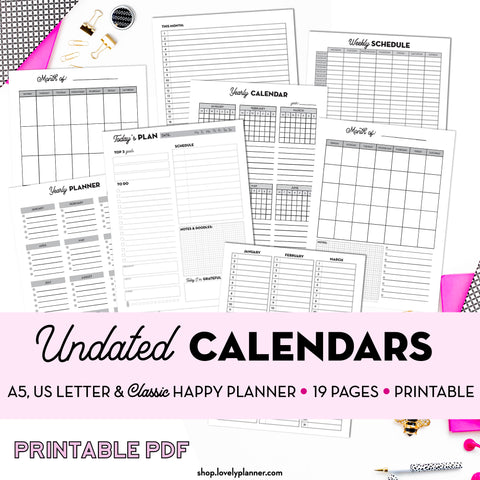 Undated Calendars PACK (Daily, Weekly, Monthly, Yearly) - 19 Printable Planner Inserts in A5, A4, US Letter & Classic Happy Planner Size