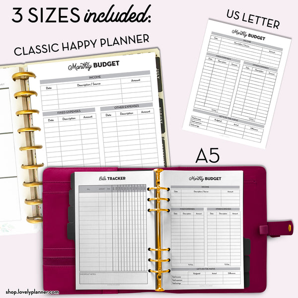 Budget Planner PACK - 10 Printable Planner Inserts in A5, A4, US Letter & Classic Happy Planner Size