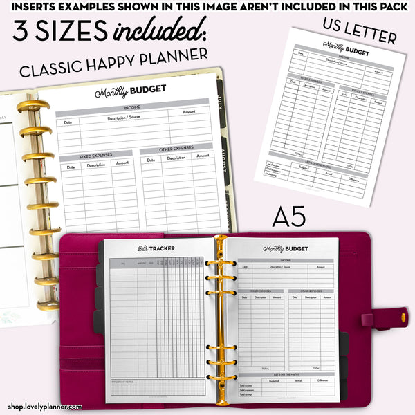 Health and Wellness Planner PACK - 12 Printable Planner Inserts in A5, A4, US Letter & Classic Happy Planner Size