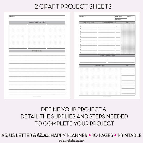 Entertainment Planner PACK - 10 Printable Planner Inserts in A5, A4, US Letter & Classic Happy Planner Size