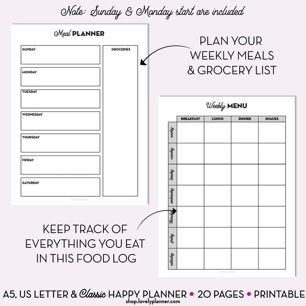 Home Management Planner PACK - 20 Printable Planner Inserts in A5, A4, US Letter & Classic Happy Planner Size