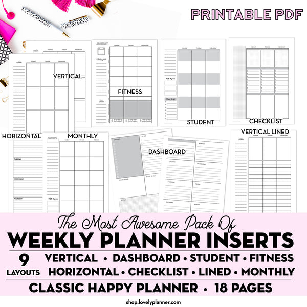 9 Weekly (WO2P layouts) & Monthly Templates - Classic Happy Planner  - Pack of 18 Weekly Planner Template Printable Pages