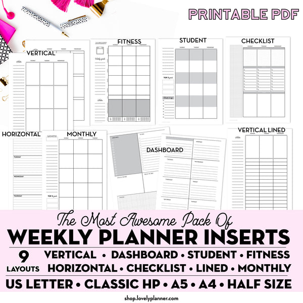 The Ultimate Planner Bundle - 85+ Printable Planner Inserts for A5, US Letter, Classic Happy Planner