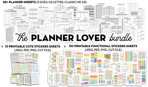 The Planner Lover Bundle: 85 Planner Inserts + 63 Planner Stickers Sheets