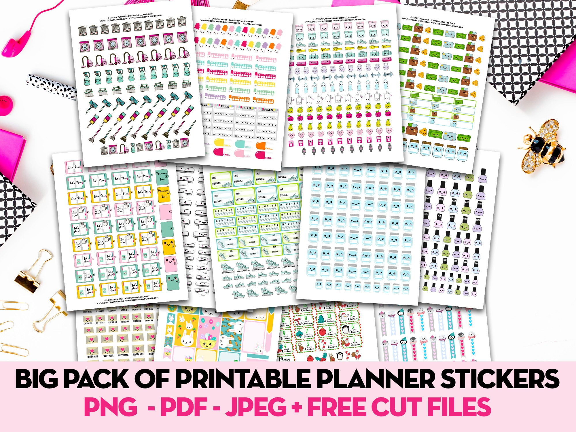 Pack of 13 Kawaii Stickers Sheets