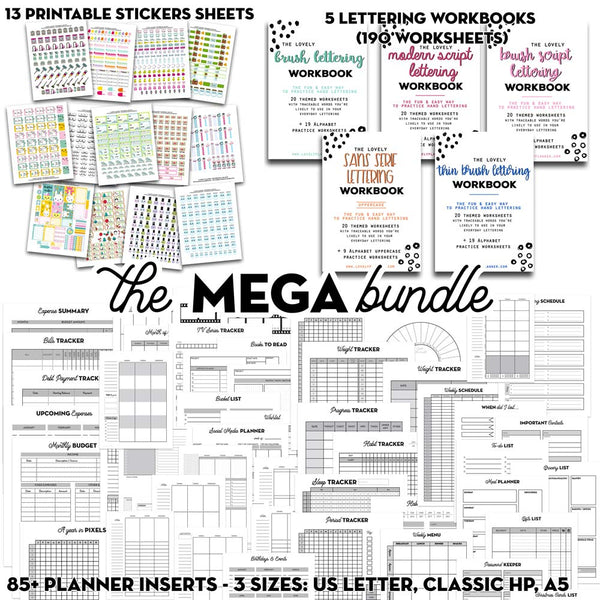 Mega BUNDLE: Ultimate Planner Bundle + Lettering Workbooks + Kawaii Stickers Pack