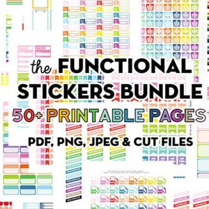 The Functional Stickers Bundle: Pack of 50 Printable Functional Stickers Sets