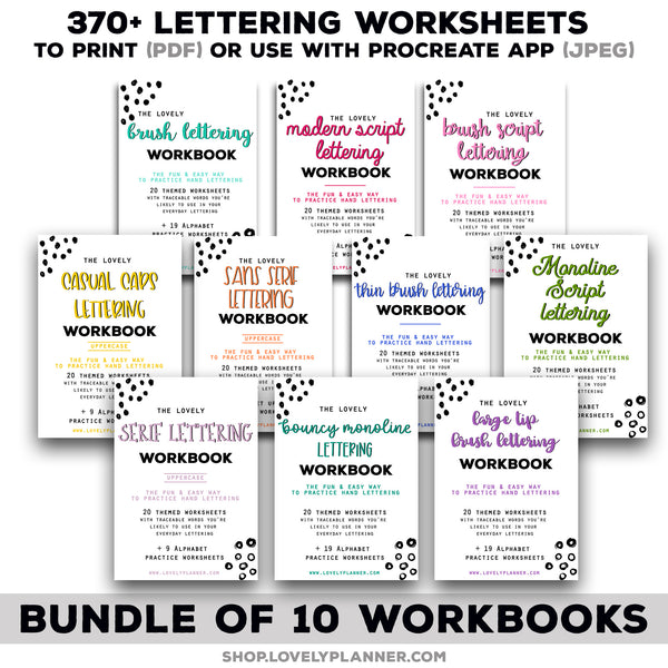 BUNDLE of 10 Lettering Workbooks with 370 Hand Lettering Practice Worksheets -Brush/Monoline for Procreate & Print, Modern Calligraphy, Ipad