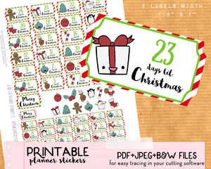 picture about Christmas Countdown Printable known as Xmas Countdown Stickers - Printable