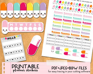 Kawaii Medication / Pills Stickers - Printable