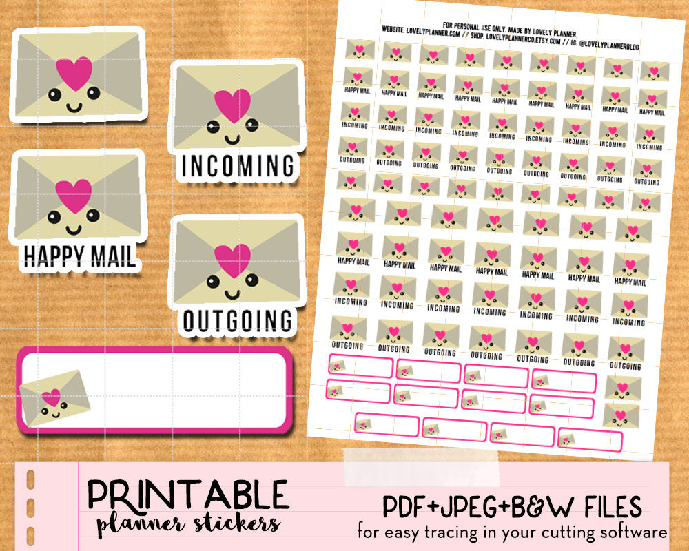 Kawaii Happy Mail Stickers - Printable