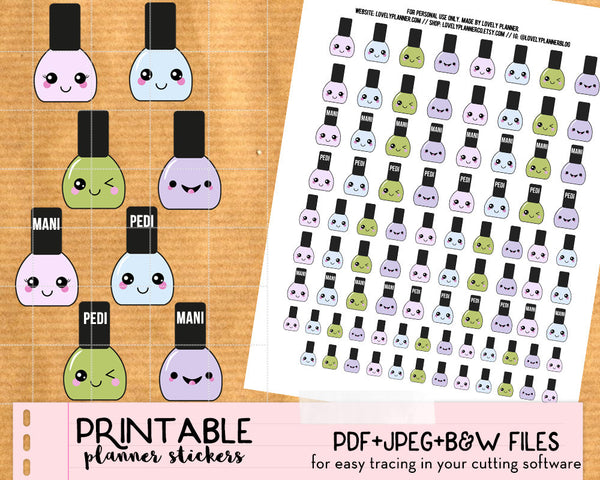 Kawaii Nail Polish Stickers - Printable