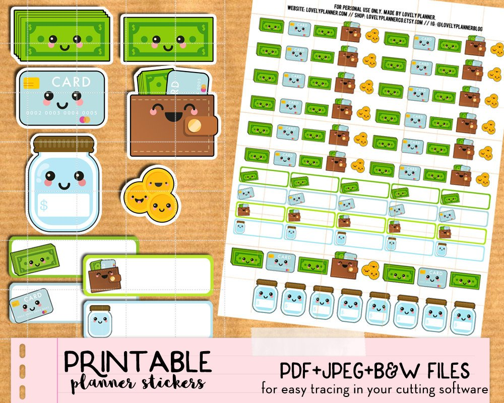 Kawaii Money Stickers - Printable