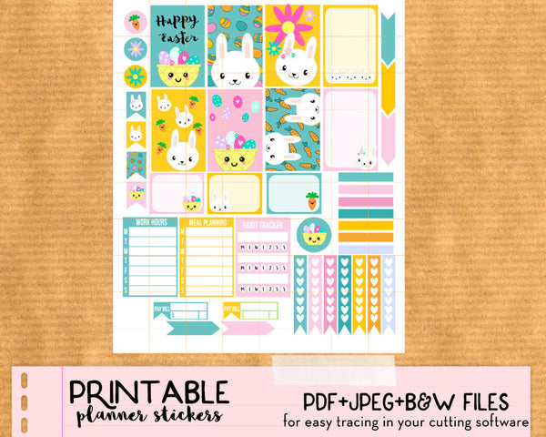 Spring Easter Bunny Weekly Stickers Kit - Printable