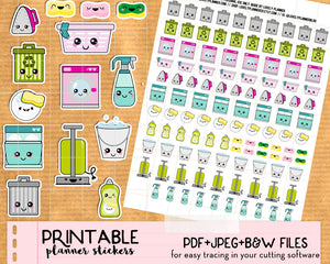 Kawaii Cleaning Stickers - Printable