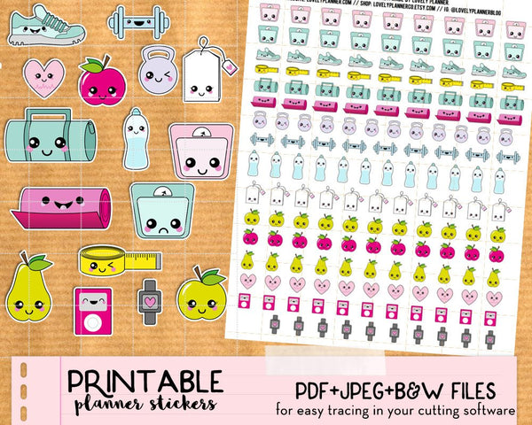 Kawaii Fitness / Health Stickers - Printable