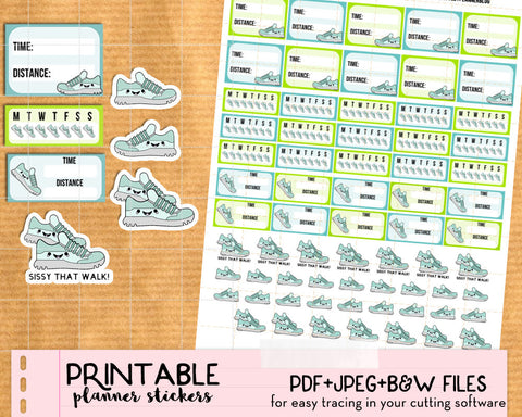 Kawaii Walk, Run, Steps Stickers - Printable